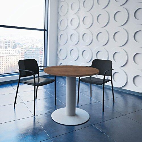 Weber Büro OPTIMA runder Besprechungstisch Ø 80 cm Nussbaum Silbernes Gestell Tisch Esstisch