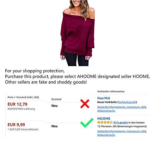 AHOOME Donna Casual Maglietta Pullovers Sweatshirt Tops Sweater Maniche Lunghe Felpa Senza Spalline Maglia T-shirt Tinta Unita Bluse Autunno-Inverno 2017 Marrone