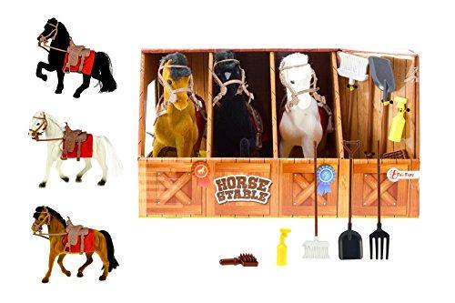 Toi-Toys 6223 - der Pappepferdestall mit Drei Pferden, Drei Farben