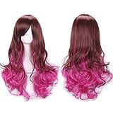 Señora pelo rizos pelo rojo gradiente Harajuku estilo alta temperatura cable cos peluca