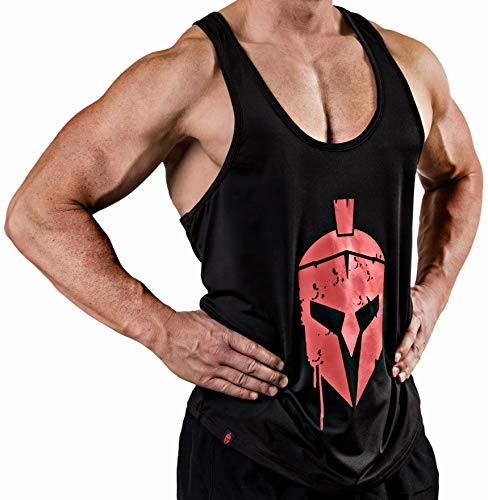 Satire Gym Fitness T-Shirt Herren - Funktionelle Sport Bekleidung mit Sparta Motiv - Geeignet Für Workout, Training & Spartaner - Slim Fit (Stringer Black - Sparta Front Head, S)