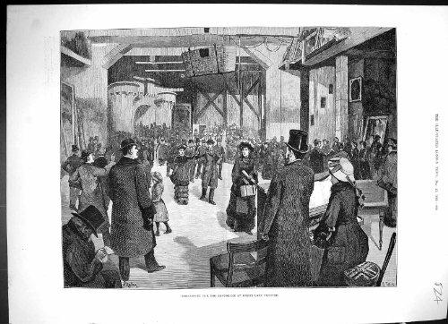 Preparando l'oggetto d'antiquariato del teatro del vicolo di drury di pantomimo di natale stampi 1882