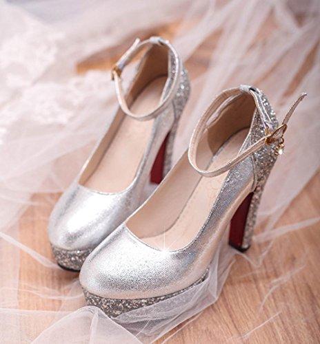 Da donna-Tacchi-Matrimonio Casual Serata e festa-Altro-Quadrato-Lustrini-Argento Dorato Silver