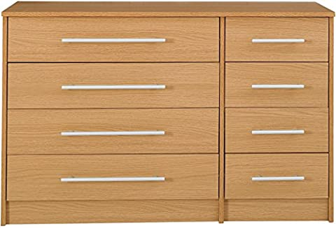 Kendal Chest of 8 Drawers 4 Large & 4 Small Drawers - Oak Effect