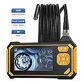 MoKo Endoscopio Industrial, Cámara de inspección – 3m endoscópica Impermeable con Pantalla LCD en Color, boroscopio de Mano semirrígido 1080P HD con 6 LED, cámara Snake con batería de Litio de 2600mah