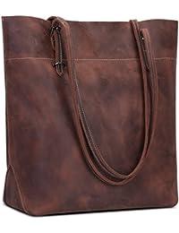 7a1d11615864 S-ZONE Vintage Genuine Leather Tote Shoulder Bag Handbag Big Large Capacity
