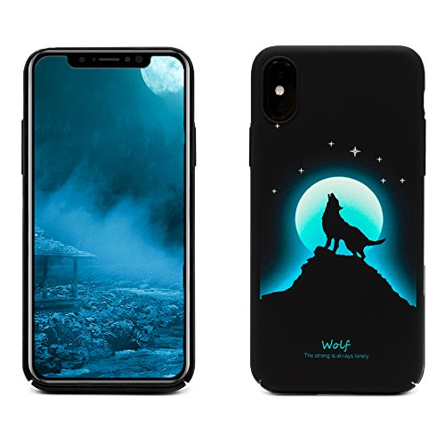 ProtectPax Iphone X TPU Monlight Case Cover IPhone Hülle - Blau/Wolf leuchtet im Dunkeln Schutzhülle IPhone 10 Handyhülle mti Stil Apple Bumber