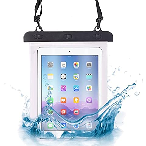 ONX3® (Black) Alba 10 Inch Universal Transparent Tablet, Passport, Money Underwater Waterproof Protection Dry Bag, Case, Cover