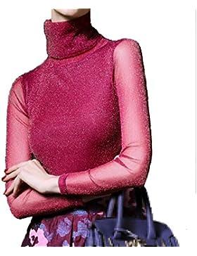 XGMSD Slim Shirt Mujer Otoño Invierno Bottoming Camisa Encaje