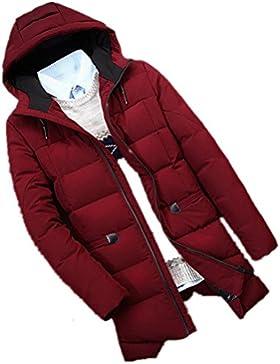 MHGAO Invierno de los hombres chaqueta con capucha abrigo acolchado libre , wine red , xl