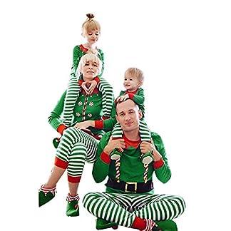Navidad de BaZhai, Traje de chándal con Estampado de Rayas de Feliz Navidad para Mujer Trajes a Juego Camisetas Pantalones de Hombre Mujer niña navideño Estampado Rayas Divertido para Familia