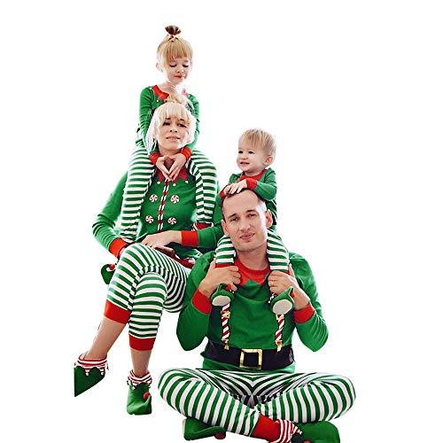 Family Set Kostüm Addams - Riou Weihnachten Set Baby Kleidung Pullover Pyjama Outfits Set Familie Frohe Weihnachten Streifen Print Trainingsanzug Familie passende Kleidung Outfits (XL, Dad)