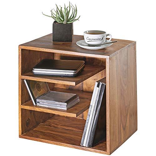FineBuy Beistelltisch SARNUR 43x43x30 cm Sheesham Massivholz Design Nachttisch   Kleiner Wohnzimmertisch mit Ablagen   Designer Holztisch massiv   Nachtkonsole Nachtkommode Holz   Anstelltisch modern
