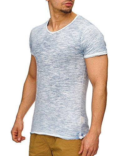 SUBLEVEL Herren T-Shirt offene Kanten mit Farbeffekt & V-Ausschnitt S M L XL XXL Dark Ocean Blue