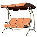 Outsunny 01–08903-Sitzer Outdoor Garten Terrasse Metall Swing Stuhl Hollywoodschaukel und Bench Sitz–Kaffee