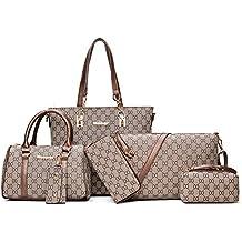 ed3e16548fb61 TEAMWIN Vintage PU Große Handtasche wasserdicht Henkeltasche Shopper  Kunstleder Handtasche Tasche Clutch Taschen 6er Set für