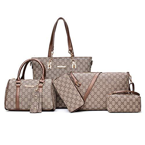 TEAMWIN Vintage PU Große Handtasche wasserdicht Henkeltasche Shopper Kunstleder Handtasche Tasche Clutch Taschen 6er Set für Frauen (Braun)