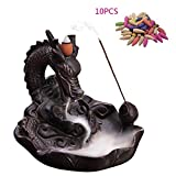 Backflow Incense Burner, Home Dragon Backflow incense Burner, Backflow incense Holder with 10PCS Backflow Incense, Bruciatore Incenso Porta Incenso Bruciatore del Drago in Ceramica Art Craft Handmade