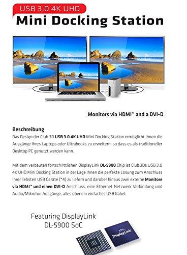 Club 3D SenseVision USB 3.0 4K Mini Docking Station-1x HDMI UHD, 1x DVI-D, 4x USB3.0, 2x USB BC 1.2 Schnelladen, 1x RJ45, 1x 2.1ich /Mich, LED Funktionsleiste, Aluminium/schwarz