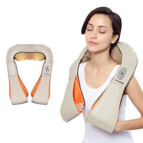 Ecotec Shiatsu Masajeador Cervical Masaje de Cuello Espalda y Hombros con calor Infrarrojos 3D Rotación (Blanco)