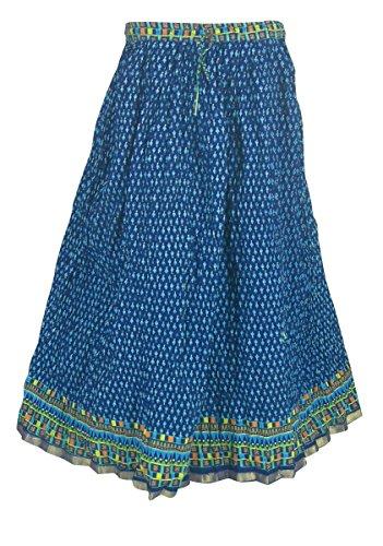 Gedruckt Baumwolle Mehrfarbig Sommer Rock Indien Kleider Mehrfarbig1