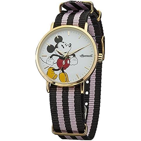Disney Ingersoll Reloj unisex de cuarzo con color blanco esfera analógica pantalla y correa de nailon multicolor