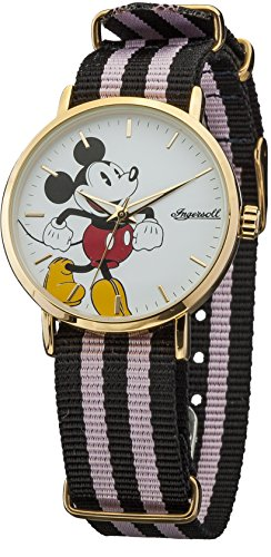 Ingersoll Disney Unisex Quartz Analogue Display Watch with White Dial and Multi-Colour Nylon Strap DIN009GDPK