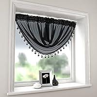 Plain Black Swag Luxury Macrame Pelmet Swag beaded Heart Bead Valance Drapes voile net Window Decor