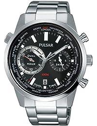 Pulsar Mens bracelet en acier inoxydable chronographe noir PY7005X1