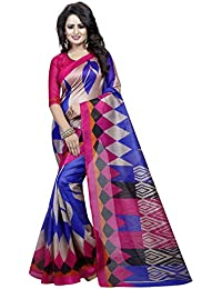 Macube Women's Bhagalpuri Silk Printed Saree With Blouse Piece - MS190_25_Blue And Pink_Free Size