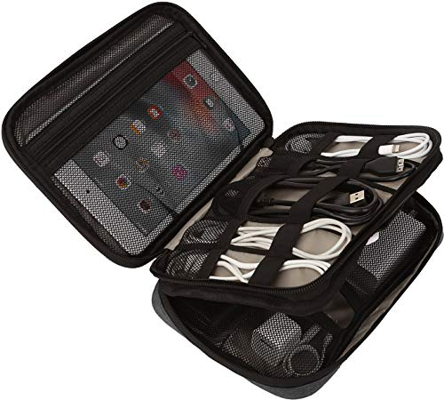 Sunflake - Organizador de Cables para iPad Mini, Tablet, Disco Duro, Powerbank, Tarjetas SD y Accesorios, Color Negro