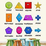 StickMe 'Colourful Shapes Baby Kids Learning Education Nursery Pre School Kinder Garden Wall Sticker' (PVC Vinyl, 100 X 100 cm, Multicolour)