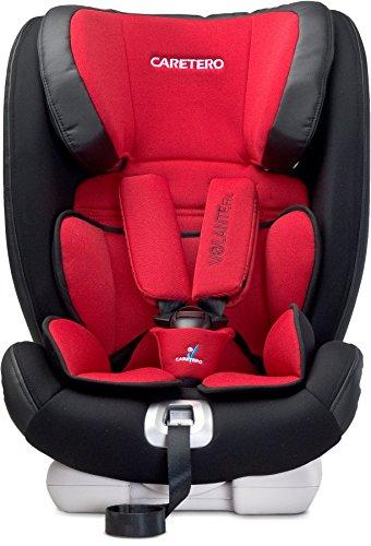 Caretero VolanteFix Kindersitz mit ISOFIX 48x45x59 cm (LxBxH) komfortabler Autositz, Kinderautositz höhenverstellbare Kopfstütze 4-fach verstellbare Rückenlehne 5-Punkt-Sicherheitsgurt (Black)