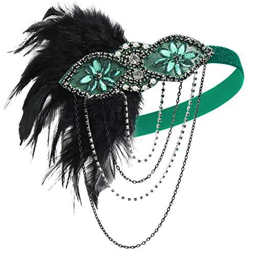 ArtiDeco 1920s Stirnband Damen Gatsby Kostüm Accessoires 20er Jahre Flapper Feder Haarband (Grün)