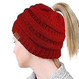 lefu Winter Strickmütze - Damen Unisex Hedging Kopf Hut Mütze Cap Crochet Baggy warme Ski Berets Slouchy Outdoor mit 2 zufällige Farbe Haar Ringe Rotwein