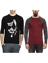 Veirdo Printed Full Sleeve Black Round Neck Men's Cotton Tshirt-Combo Tshirt-pack Of 2