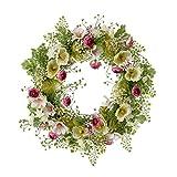 Pureday Dekokranz Frühlingswiese - Frühlingskranz mit Blüten - Grün Rosa - ca. Ø 40 cm