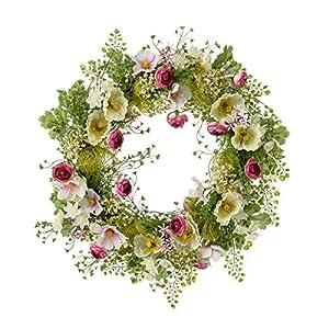 Pureday Dekokranz Frühlingswiese – Frühlingskranz mit Blüten – Grün Rosa – ca. Ø 40 cm