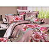 Pink Rose & Butterfly Printed Bedding Set Collection (Double Sheet Set) (Pink/Blue/Green)
