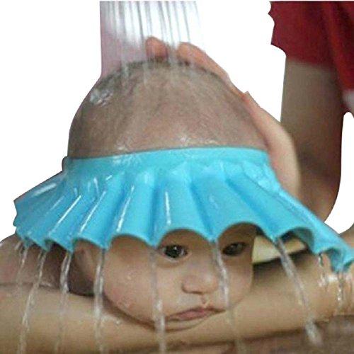 Newin star morbido sicuro baby kid bambini shampoo bath protector cuffia per la doccia hat wash capelli shield (blu)