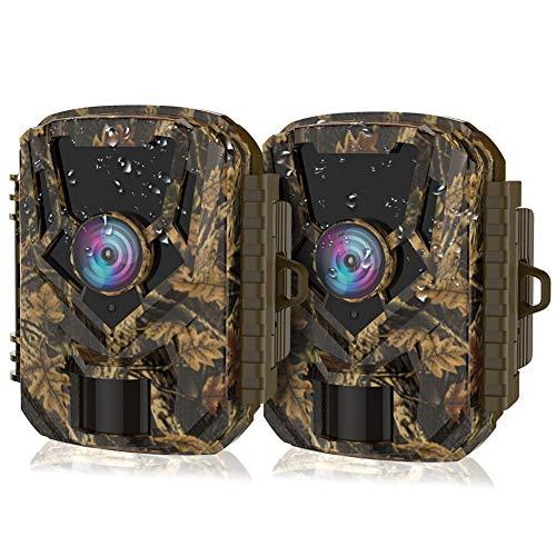 """HOLLYWTOP Jagdkamera, 1080P 20MP Wildkamera, Bewegungsaktivierung mit 20M Infrarot-Nachtsicht und 2,0\""""-LCD-Display, wasserdicht IP66 für die Jagd auf Wildtiere und die Sicherheit zu Hause - 2 Pack"""