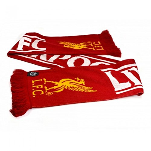 Liverpool FC - Bufanda con flecos (Talla Única/Rojo/Blanco/Amarillo)