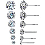6 paia di eleganti orecchini rotondi a bottone con diamante sintetico, in argento sterling 925, con diametro interno da 3, 4, 5, 6, 7 e 8 mm, base metal, colore: 6 Pairs, cod. Studearrings6pairs
