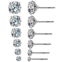 Idea Regalo - 6paia di eleganti orecchini rotondi a bottone con diamante sintetico, in argento sterling 925, con diametro interno da3, 4, 5, 6, 7e 8mm, base metal, colore: 6 Pairs, cod. Studearrings6pairs