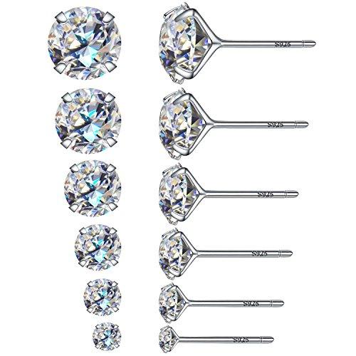 6paia di eleganti orecchini rotondi a bottone con diamante sintetico, in argento sterling 925, con diametro interno da3, 4, 5, 6, 7e 8mm, base metal, colore: 6 Pairs, cod. Studearrings6pairs