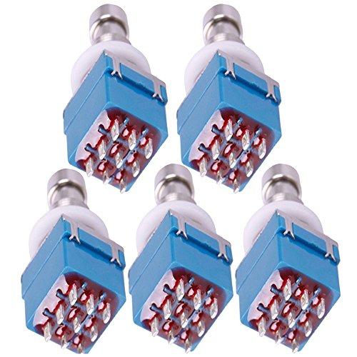 Supmico 5 X 3PDT 9-polig Box stampfen Gitarren-Effekt-fach Fußschalter True Bypass Metall Schalter Lötanschluss Blau -