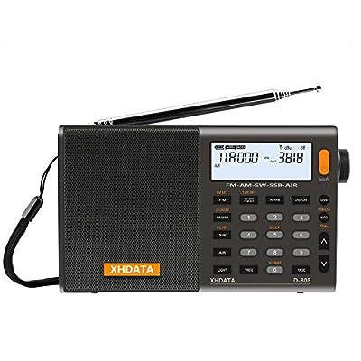 XHDATA D-808 Portable Radio numérique FM stéréo/SW/MW/LW SSB RDS Bande Air Band Multi Haut-Parleur avec Affichage LCD réveil Antenne Externe et 2000mah Batterie (Gris) de XHDATA