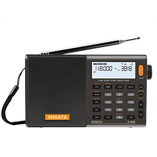 XHDATA D-808 tragbares digitales Radio UKW-Stereo / KW / MW / LW SSB RDS Air Band Multi-Band-Radio Lautsprecher mit LCD-Anzeige Wecker Externe Antenne und 18650 Akku (Grau)