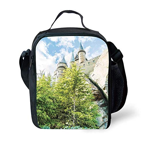 MLNHY School Supplies Wizard,Witchcraft School and Wizard Castle in Woods Replica in Japan Picture Print,Green Blue Beige for Girls or Boys ()
