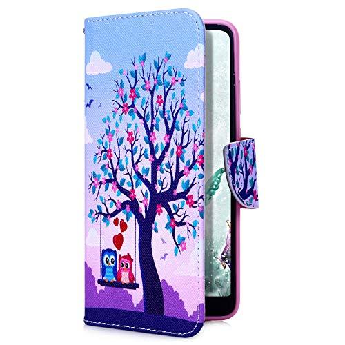 Uposao Kompatibel mit Xiaomi Redmi Note 7 Handyhülle Handy Tasche Retro Bunt Muster Brieftasche Schutzhülle Bookstyle Flip Case Wallet Cover Kartenfächer Magnet Klapphülle,Baum Eule